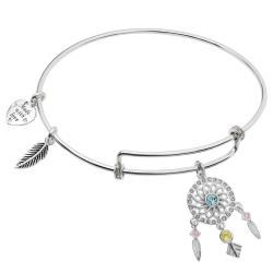 Rhodium on 925 Sterling Silver Dream Catcher Clear CZ Heart Feather Dangle Charm Adjustable Wire Bangle Bracelet