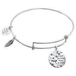 "Rhodium on 925 Sterling Silver ""I Love You to the Moon and Back"" CZ Dangle Charm Adjustable Wire Bangle Bracelet"