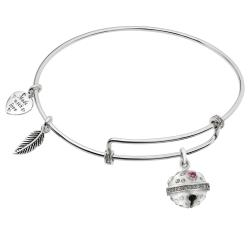Rhodium on 925 Sterling Silver Jingle Bells CZ Dangle Charm Adjustable Wire Bangle Bracelet
