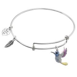 Rhodium on 925 Sterling Silver Hummingbird Enamel Dangle Charm Adjustable Wire Bangle Bracelet Made...