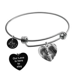 Qina C. Love You to the Moon and Back Personalized Photo Message Text Engraving Bangle Dangle Heart...