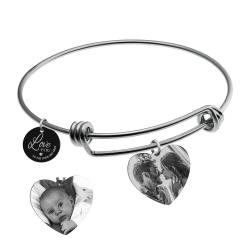 Qina C. Love You to the Moon and Back 2 Sided Personalized Photo Engraving Bangle Dangle Heart Charm...