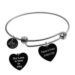 Qina C. Love You to the Moon and Back 2 Sided Personalized Text Engraving Bangle Dangle Heart Charm...