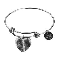Qina C. Love You to the Moon and Back 1 Sided Personalized Photo Engraving Bangle Dangle Heart Charm...