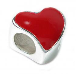 Sterling Silver Large Red  Enamel Love Heart Bead Charm for Pandora Chamilia Troll Biagi