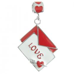 Rhodium on Sterling Silver Valentine Love Letter Mail Red White Enamel Dangle Bead for European...
