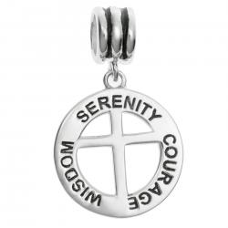 Antique 925 Sterling Silver Serenity Courage Wisdom Christ Cross European Style Dangle Bead Charm