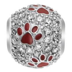 Rhodium on 925 Sterling Silver CZ Puppy Dog Paw Animal Footprint Bead for European Charm Bracelets