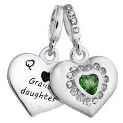 925 Sterling Silver Grandmother & Granddaughter Love Heart Green CZ Dangle Bead for European Charm...