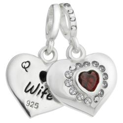 925 Sterling Silver Husband & Wife Love Heart Red CZ Dangle Bead for European Charm Bracelets