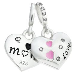 925 Sterling Silver Mom & Daughter Pink Enamel Love Heart CZ Crystal Dangle Bead for European Charm Bracelets