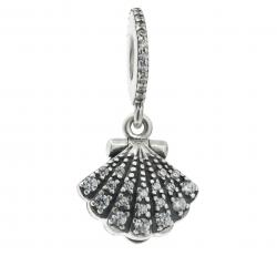 Sterling Silver Sea Shell Pearl CZ Crystal Dangle Bead for European Charm Bracelets