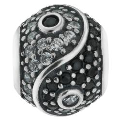 Sterling Silver Yin Yang Tai Chi CZ Crystal Dangle Bead for European Charm Bracelets