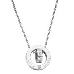 "316 Stainless Steel Personalized Dual Ring Love Dangle Charm Rolo Chain Necklace, 18""+1"" Extender"