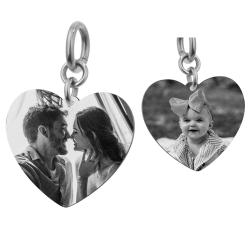 Heart Plate 2 Sides Personalized Photo Engraving Pendant Dangle Charm for European Charm Bracelets