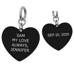 Heart Plate 2 Sides Personalized Message Engraving Pendant Dangle Charm for European Charm Bracelets