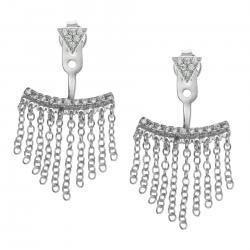 Rhodium on 925 Sterling Silver Clear CZ Crystal Chain Tassel 2 in 1 Stud and Jacket Post with...