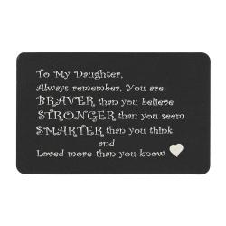 "Anodized Aluminum Black Daughter ""Braver Stronger Smarter"" Personalized Photo Custom Engrave Metal..."