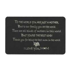 "Anodized Aluminum Black Mother ""I Love You Mom"" Personalized Photo Custom Engrave Metal Wallet Mini..."