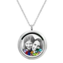 Engraved Personalized Photo Floating Purple Blue Crystals Necklace Pendant