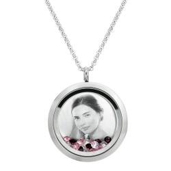 Engraved Personalized Photo Floating Pink Crystals Necklace Pendant