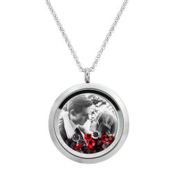 Engraved Personalized Photo Floating Red Crystals Necklace Pendant