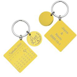 Custom Engraved Text Personalized Calendar Date with Love U to the Moon & Back Stainless Steel...