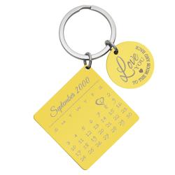 Custom Engraved Personalized Calendar Date with Love U to the Moon & Back Stainless Steel Dog Tag...