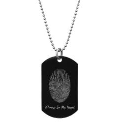 Stainless Steel Personalized Fingerprint + Text Engraving Custom Dog Tag w/ Dot Ball Chain Necklace...