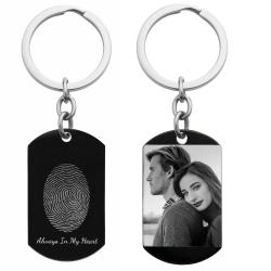 Stainless Steel Personalized Oval Fingerprint + Photo Engraving Custom Dog Tag Key Chain