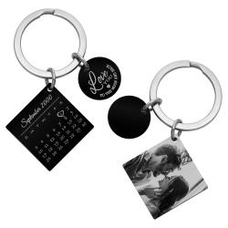 Personalized Custom Date Text Photo Calendar Engraving Heart Square Dog Tag Pendant Keychain Lovers...