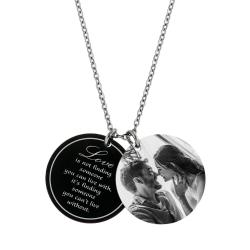 Double Round Plates Love Photo Engraving Personalized Pendant Chain Necklace 18.5 in + 2.5 in