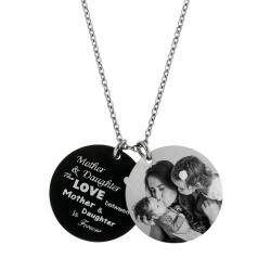 Double Round Plates to My Daughter Mother Love Forever Photo Engraving Personalized Pendant Chain...