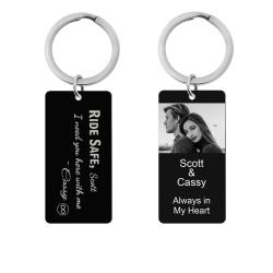 Queenberry Ride Safe Love Custom Engraved Personalized Photo Text Message Dog Tag Keychain