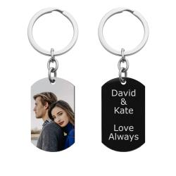 Full Color Photo Printing + Personalized Text Engraving Stainless Steel Custom Dog Tag Key Chain -...